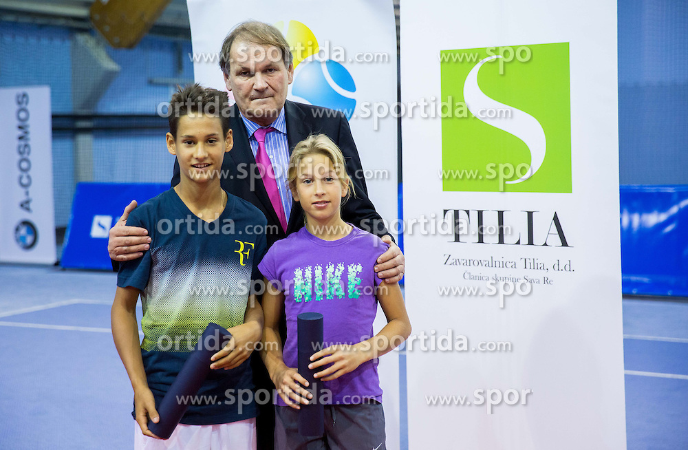 Tim Tekavec, Marija Vicic and Marko Umberger, president of TZS at Tennis exhibition day and Slovenian Tennis personality of the year 2013 annual awards presented by Slovene Tennis Association TZS, on December 21, 2013 in BTC City, TC Millenium, Ljubljana, Slovenia.  Photo by Vid Ponikvar / Sportida
