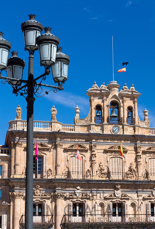 Casa Consistoral town hall in famous Plaza Mayor square - Spanish Baroque style architecture Salamanca, Spain