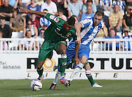 Picture by Paul  Gaythorpe/Focus Images Ltd +447771 871632.08/09/2012.Sam Collins of Hartlepool United and Jake Jervis of Carlisle United during the npower League 1 match at Victoria Park, Hartlepool.