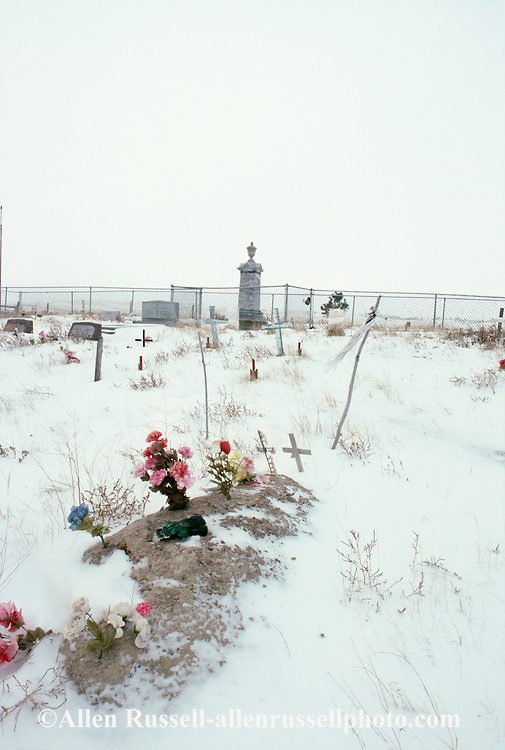 Pine Ridge Sioux Indian Reservation, South Dakota, Oglala Sioux (Lakota),  Wounded Knee Cemetary, large tombstone is mass grave of Big Foots band killed at Wounded Knee Massacre, 1890.