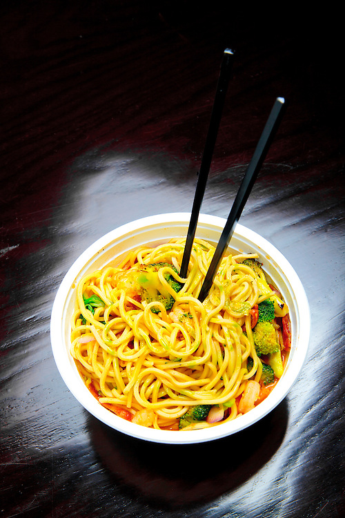 Lobster sauce, noodles, shrimp, brocolli, and Chinese sausage at The American Noodle Bar in Miami