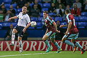 Chris Taylor (Bolton Wanderers) takes a shot while Aiden O'Neill (Burnley) can only watch during the Pre-Season Friendly match between Bolton Wanderers and Burnley at the Macron Stadium, Bolton, England on 26 July 2016. Photo by Mark P Doherty.
