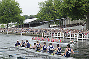 Henley, Great Britain.  Henley Royal Regatta. Upper Yarra Rowing Club, Australia, AUS, row past Stewards' Enclosure, ahead of Star Club, on their way to winning, the Thames Challenge Cup. River Thames,  Henley Reach.  Royal Regatta. River Thames Henley Reach. Sunday  14:56:31  03/07/2011  [Mandatory Credit/Intersport Images] . HRR