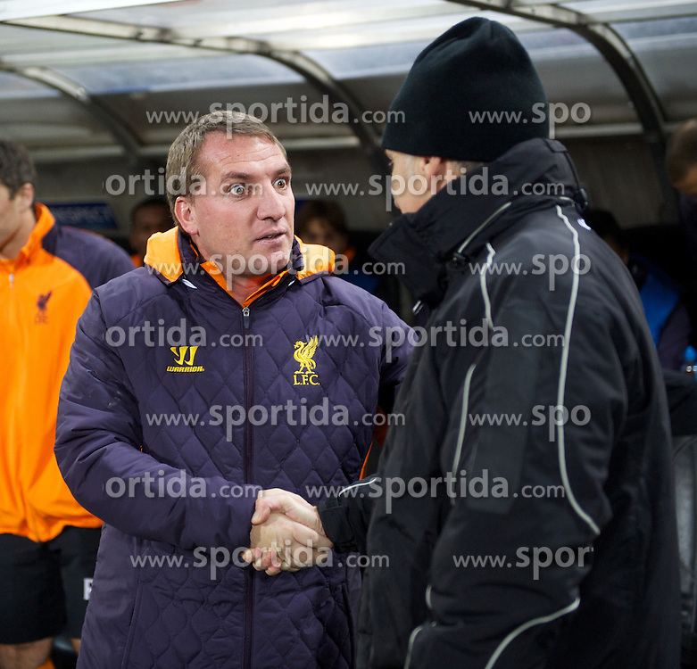 06.12.2012, Stadio Friuli, Udine, ITA, UEFA EL, Udinese Calcio vs FC Liverpool, Gruppe A, im Bild Liverpool's manager Brendan Rodgers shakes hands with Udinese Calcio's head coach Francesco Guidolin during during the UEFA Europa League group A match between Udinese Calcio and Liverpool FC at the Stadio Friuli, Udinese, Italy on 2012/12/06. EXPA Pictures © 2012, PhotoCredit: EXPA/ Propagandaphoto/ David Rawcliffe..***** ATTENTION - OUT OF ENG, GBR, UK *****