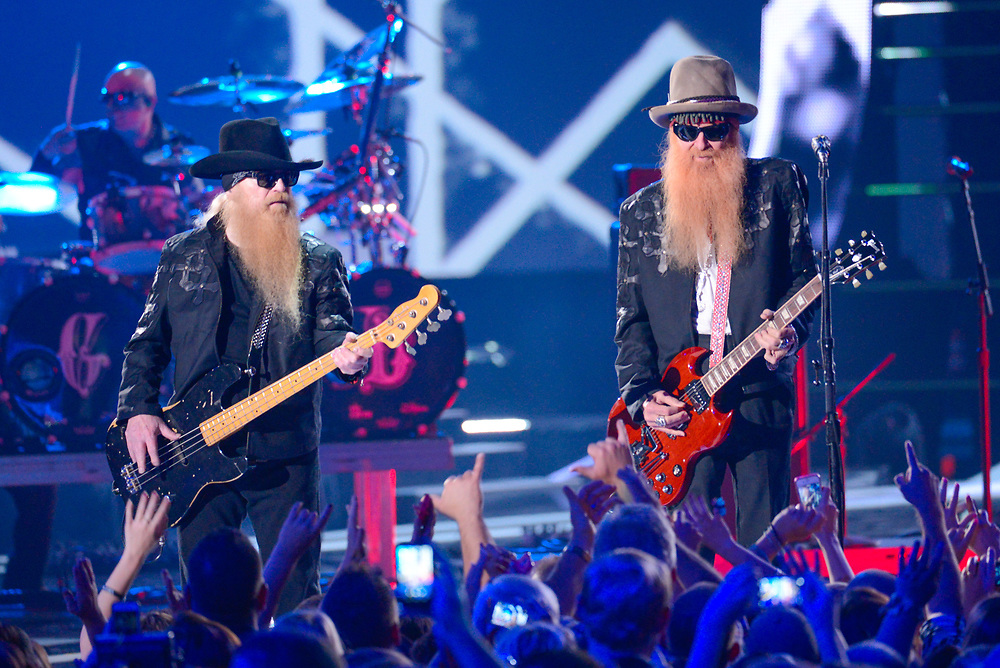 NASHVILLE, TN - JUNE 04: Dusty Hill and Billy Gibbons of ZZ Top perform during the 2014 CMT Music awards at the Bridgestone Arena on June 4, 2014 in Nashville, Tennessee.