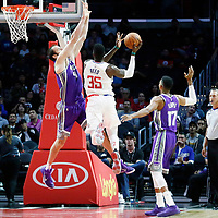 12 October 2017: LA Clippers center Willie Reed (35) goes for the layup against Sacramento Kings center Kosta Koufos (41) during the LA Clippers 104-87 victory over the Sacramento Kings, at the Staples Center, Los Angeles, California, USA.