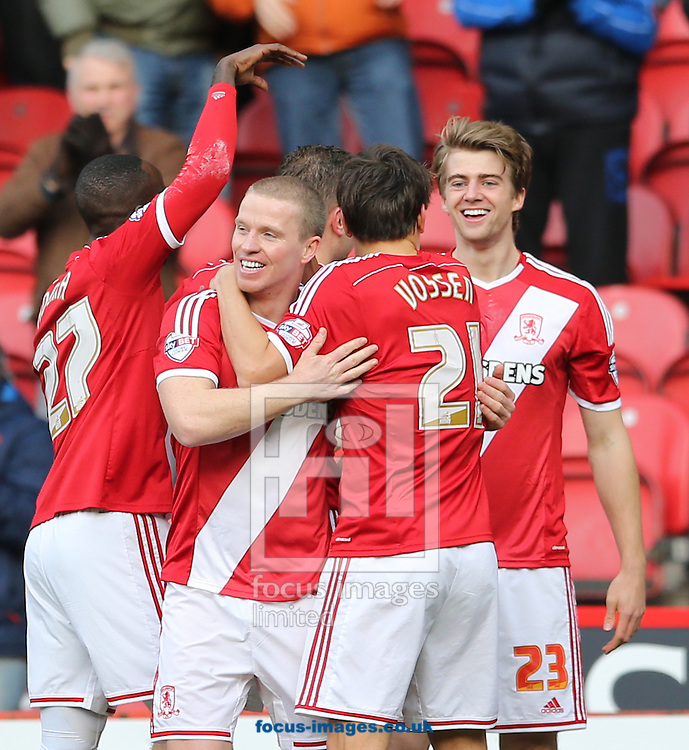 Patrick Bamford (23) of Middlesbrough celebrates scoring the opening goal with team mates during the Sky Bet Championship match at the Riverside Stadium, Middlesbrough<br /> Picture by Simon Moore/Focus Images Ltd 07807 671782<br /> 07/02/2015