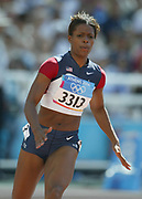 LaShauntea Moore of the United States placed sixth in women's 200-meter semifinal in 22.93 in the 2004 Olympics in Athens, Greece on Tuesday, August 24, 2004.