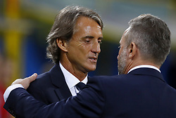 September 7, 2018 - Bologna, Italy - Italy v Poland - UEFA Nations League..Italy coach Roberto Mancini with Jerzy Brzeczek trainer of Poland at Renato Dall'Ara Stadium in Bologna, Italy on September 7, 2018. (Credit Image: © Matteo Ciambelli/NurPhoto/ZUMA Press)