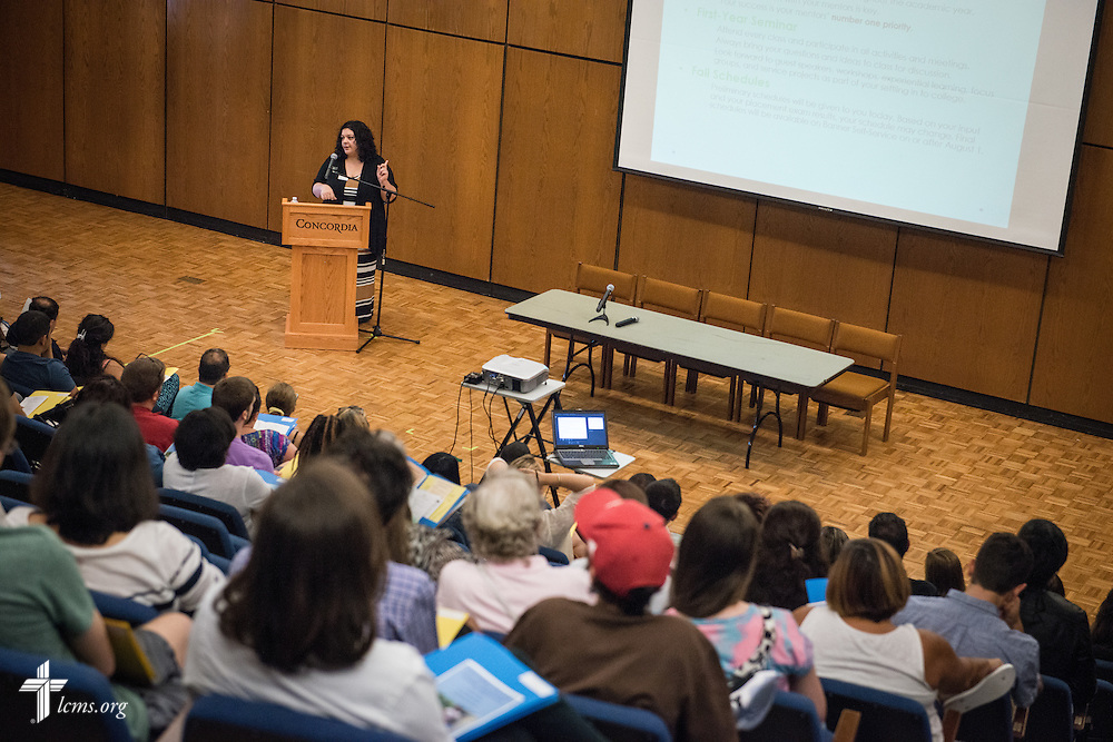 Johanna Perry, director of student success, addresses a group of students and parents during orientation at Concordia College New York on Saturday, July 19, 2014, in Bronxville, NY. LCMS Communications/Erik M. Lunsford