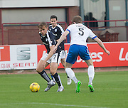 Dundee&rsquo;s Greg Stewart take son Kilmarnock&rsquo;s Stuart Findlay  - Dundee v Kilmarnock, Ladbrokes Scottish Premiership at Dens Park<br /> <br />  - &copy; David Young - www.davidyoungphoto.co.uk - email: davidyoungphoto@gmail.com