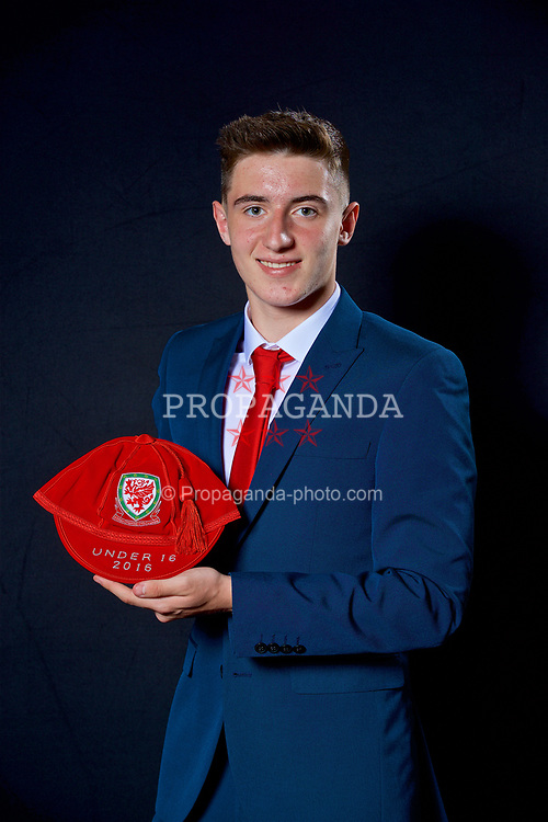NEWPORT, WALES - Saturday, May 27, 2017: Ryan Barrett with his Under-16 Wales cap at the Celtic Manor Resort. (Pic by David Rawcliffe/Propaganda)