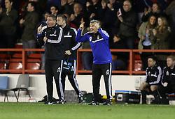 Caretaker Manager Gary Brazil celebrates the equalising goal - Photo mandatory by-line: Matt Bunn/JMP - Tel: Mobile: 07966 386802 -08/04/2014 - SPORT - FOOTBALL - City Ground - Nottingham - Nottingham Forest v Sheffield Wednesday- Sky Bet Championship