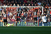 Tottenham Hotspur striker Harry Kane scores penalty during the Barclays Premier League match between Bournemouth and Tottenham Hotspur at the Goldsands Stadium, Bournemouth, England on 25 October 2015. Photo by Mark Davies.