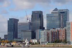© Licensed to London News Pictures. 30/08/2013. London, UK. Tall Ships on The Thames at Greenwich, with The Cutty Sark in view,  marking one year until The Tall Ship Regatta, Falmouth to Greenwich in August 2014. Here Tall Jantje is seen with Canary Wharf in the distance. Photo credit: Mike King/LNP