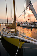 "Newport, RI 2008 - ""Little Dipper"" with sunset behind. Tied up at Bowen's landing in Newport"