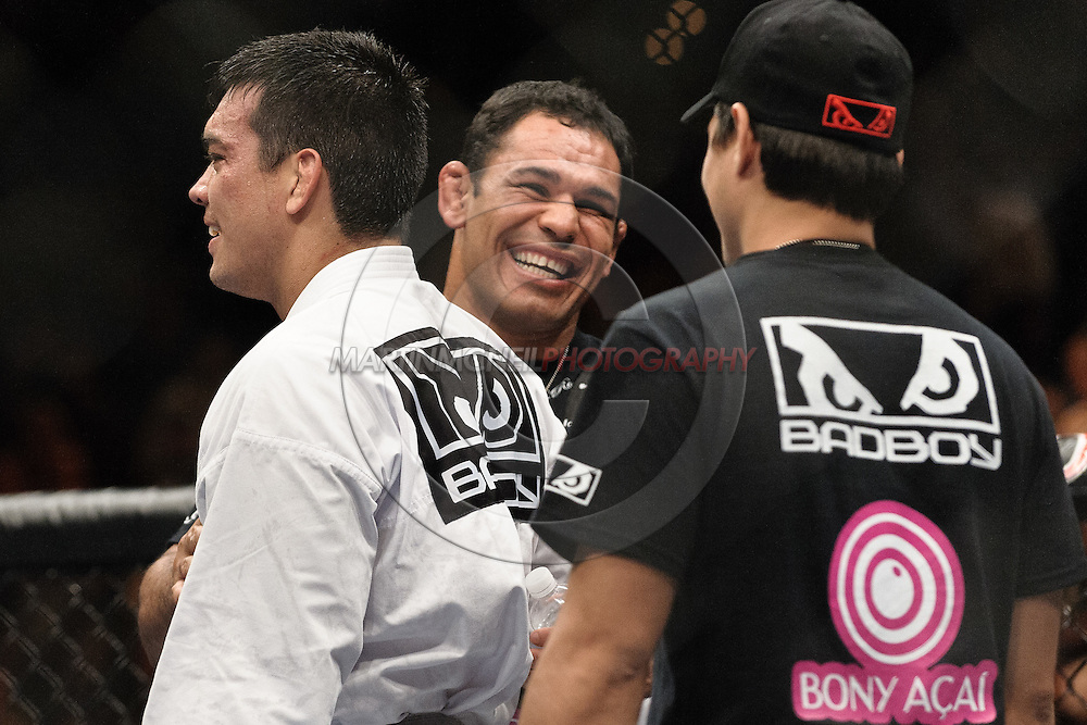 """LAS VEGAS, NEVADA, MAY 24, 2008: Lyoto Machida (left) and Antonio Rodriguo Nogueira (facing) are pictured after Machida's win during """"UFC 84: Ill Will"""" inside the MGM Grand Garden Arena in Las Vegas"""