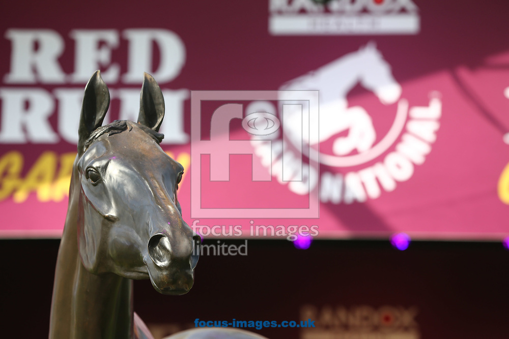 Red Rum's statue on the fortieth anniversary of its record breaking third win of the Grand National on Grand National Day of the Randox Grand National Festival at Aintree Racecourse, Liverpool<br /> Picture by Mark Chappell/Focus Images Ltd +44 77927 63340<br /> 08/04/2017