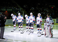 KELOWNA, CANADA, DECEMBER 27: the Kelowna Rockets starting line up stands on the blue line during the national anthem as the Spokane Chiefs visit the Kelowna Rockets on December 7, 2011 at Prospera Place in Kelowna, British Columbia, Canada (Photo by Marissa Baecker/Getty Images) *** Local Caption ***