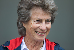 LIVERPOOL, ENGLAND - Friday, June 21, 2013: Virginia Wade speaks to the media during Day Two of the Liverpool Hope University International Tennis Tournament at Calderstones Park. (Pic by David Rawcliffe/Propaganda)