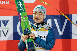 30.01.2016, Normal Hill Indiviual, Oberstdorf, GER, FIS Weltcup Ski Sprung Damen, Siegerehrung, im Bild Siegerin Sara Takanashi (JPN) // Winner Sara Takanashi of Japan celebrates during Award ceremony of FIS Ski Jumping World Cup Ladis at the Schattenbergschanze, Oberstdorf, Germany on 2016/01/30. EXPA Pictures © 2016, PhotoCredit: EXPA/ Peter Rinderer
