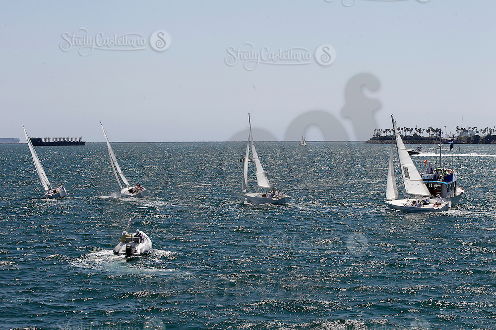 1 August 2015: Special Olympic World Games Los Angeles Sailing Finals in Long Beach, California.  Australia, Greece and USA race Cal 20's to a marker in the Pacific Ocean during final day of sailboat racing.