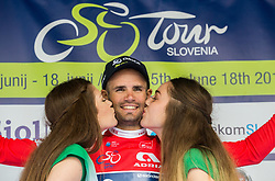 Sprint classification winner Luka Mezgec (SLO) of Orica - Scott celebrates in green jersey during trophy ceremony after the Stage 2 of 24th Tour of Slovenia 2017 / Tour de Slovenie from Ljubljana to Ljubljana (169,9 km) cycling race on June 16, 2017 in Slovenia. Photo by Vid Ponikvar / Sportida