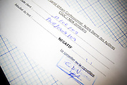 Form used to record the result of HIV tests at the NDA health center in Dimbokro, Cote d'Ivoire on Friday June 19, 2009.