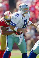 18 September 2011: Quarterback (9) Tony Romo of the Dallas Cowboys is hit by (22) Carlos Rogers of the San Francisco 49ers after throwing the ball during the first half of the Cowboys 27-24 overtime victory against the 49ers in an NFL football game at Candlestick Park in San Francisco, CA