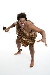 Man dressed in Zulu Warrior fancy dress costume,
