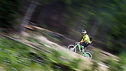 SHOT 7/28/11 5:00:45 PM - A mountain biker makes his way down a trail while riding in the Trestle Bike Park in Winter Park, Co. Featuring 37 miles of downhill trails accessed from three different chairlifts and over 200 features, the park offers programs for beginners to experts. (Photo by Marc Piscotty / © 2011)