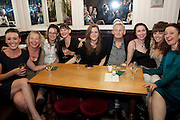SURANNE JONES; STELLA GONET; CATHERINE MCCORMACK; LAURA ELPHINSTONE; OLIVIA POULET' MAX STAFFORD-CLARK; STELLA FEEHY; LISA KERR; LUCY BRIERS, Caryl Churchill's Top Girls opening night at the Trafalgar Studios. Party afterwards in Walker's Court. London. 16 August 2011. <br /> <br />  , -DO NOT ARCHIVE-© Copyright Photograph by Dafydd Jones. 248 Clapham Rd. London SW9 0PZ. Tel 0207 820 0771. www.dafjones.com.