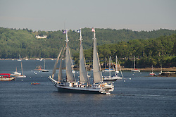SV Victory Chimes under Sail in Castine Harbor, Castine, Maine, US