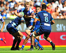 Cape Town-180317 Pieter Steph du toit  of the DHL Stomers tackled by Akira Ioane of Blues in the Super Rugby tournament  at Newlands rugby stadium.Photograph:Phando Jikelo/African News Agency/ANA