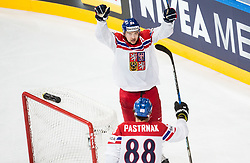 Jan Kovar of Czech Republic and David Pastrnak of Czech Republic celebrate after scoring first goal in overtime during the 2017 IIHF Men's World Championship group B Ice hockey match between National Teams of Czech Republic and Norway, on May 11, 2017 in AccorHotels Arena in Paris, France. Photo by Vid Ponikvar / Sportida