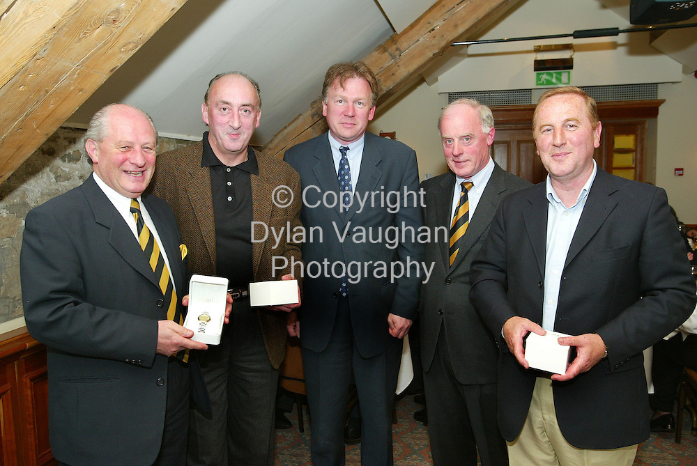 """26/4/2004.Pictured at Mount Juliet at the Kilkenny rotary Golf Classic to raise funds for a new mini bus for the O Neill Centre and other deserving projects was the winning team """" Jones Lang La Salle"""" from left Eric Wardrop,  John Mulcahy, James Murray, Pat Hegarty President Kilkenny Rotary Club and Timmy Kavanagh..Picture Dylan Vaughan"""
