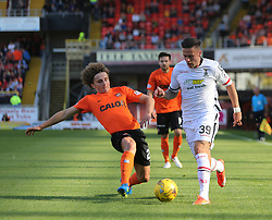 Dundee United&rsquo;s Aaron Kuhl and Inverness Caledonian Thistle's Miles Storey. <br /> Dundee United 1 v 1 Inverness Caledonian Thistle, SPFL Ladbrokes Premiership game played 19/9/2015 at Tannadice.