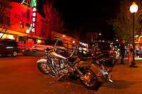 A Honda Shadow aero motorcycle, First Friday art walk in the Tennyson Street Cultural District,  Denver, Colorado USA