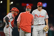 PHOENIX, AZ - JUNE 26:  Nick Pivetta #43 of the Philadelphia Phillies is relieved by manager Pete Mackanin #45 during the third inning of the MLB game against the Arizona Diamondbacks at Chase Field on June 26, 2017 in Phoenix, Arizona.  (Photo by Jennifer Stewart/Getty Images)