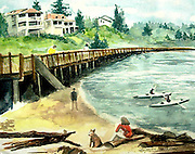 "Redondo Boardwalk. Redondo Beach, WA. Watercolor. 12x16"". ©JoAnn Hawkins"