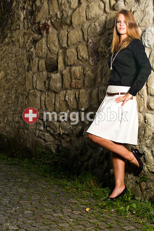 Florence SCHELLING of Switzerland, ice hockey goaltender, is pictured during a photo session on the shores of lake Greifensee in Greifensee, Switzerland, Thursday, Sept. 2, 2010. (Photo by Patrick B. Kraemer / MAGICPBK)