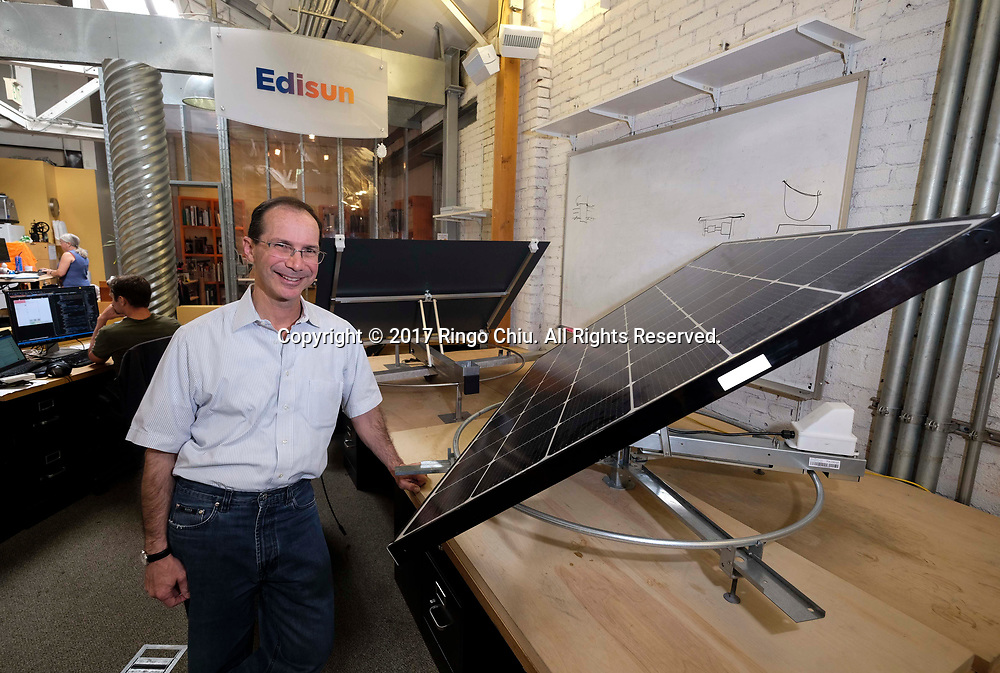 Bill Gross, CEO, Edisun (also founder of Idealab) with an example of Edisun solar panel trackers.(Photo by Ringo Chiu)<br /> <br /> Usage Notes: This content is intended for editorial use only. For other uses, additional clearances may be required.
