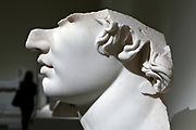 side view of broken marble head, Greek, Hellenistic period