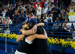 February 23, 2019 - Dubai, ARAB EMIRATES - Belinda Bencic of Switzerland celebrates with her team after winning the final of the 2019 Dubai Duty Free Tennis Championships WTA Premier 5 tennis tournament (Credit Image: © AFP7 via ZUMA Wire)