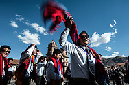 Feast of Corpus Christi. The entire civil society of Cuzco participate to processions , as these young professionals vesititi in an elegant and modern but not without a traditional leader, though.