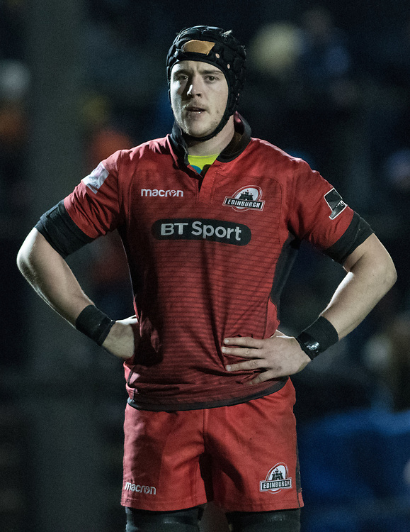 Lewis Carmichael of Edinburgh waits the the game to restart.<br /> <br /> Photographer Simon Latham/Replay Images<br /> <br /> Guinness PRO14 - Dragons v Edinburgh - Friday 23rd February 2018 - Eugene Cross Park - Ebbw Vale<br /> <br /> World Copyright © Replay Images . All rights reserved. info@replayimages.co.uk - http://replayimages.co.uk