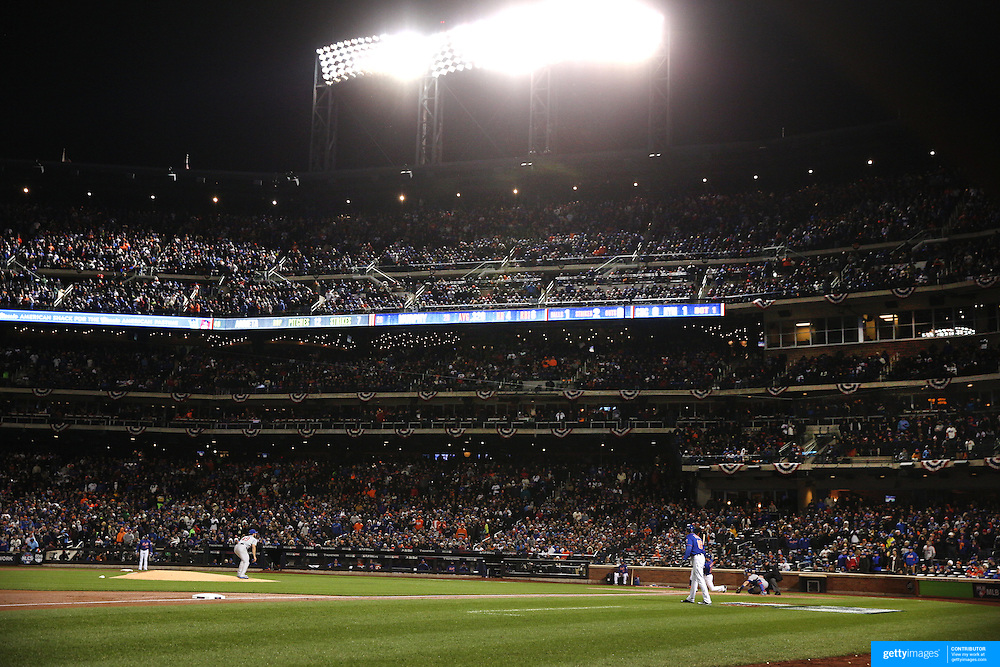 Daniel Murphy, New York Mets, hits a home run during the MLB NLCS Playoffs game two, Chicago Cubs vs New York Mets at Citi Field, Queens, New York. USA. 18th October 2015. Photo Tim Clayton