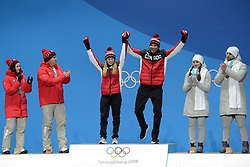 February 14, 2018 - Pyeongchang, South Korea - KAITLYN LAWES and JOHN MORRIS of Canada celebrate getting the gold medal in the Mixed Doubles curling event in the PyeongChang Olympic games. (Credit Image: © Christopher Levy via ZUMA Wire)