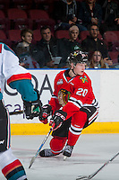 KELOWNA, CANADA - JANUARY 28: Joachim Blichfeld #20 of the Portland Winterhawks tries to block a shot against the Kelowna Rockets on January 28, 2017 at Prospera Place in Kelowna, British Columbia, Canada.  (Photo by Marissa Baecker/Shoot the Breeze)  *** Local Caption ***