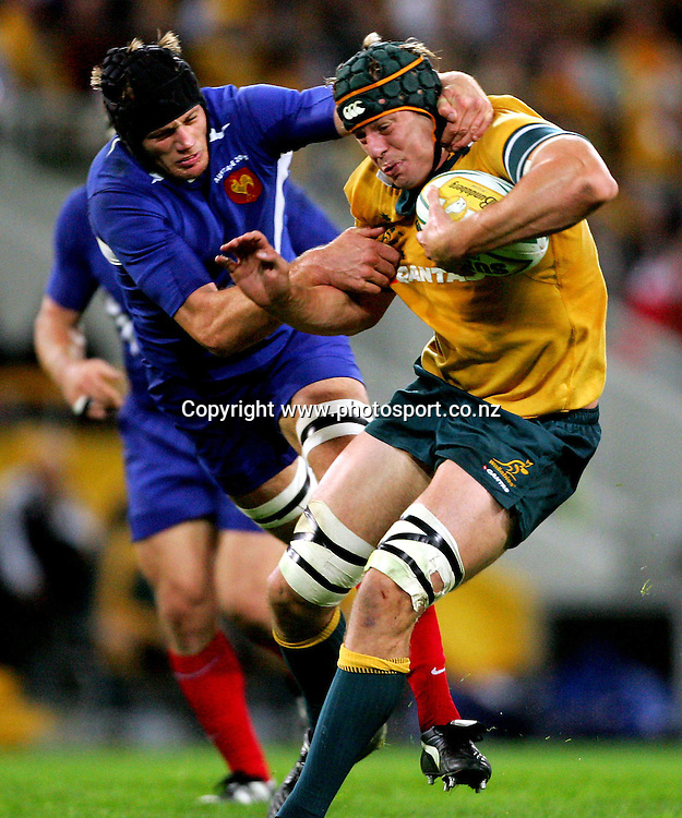 AP TEST CAPTION South African Shark's players celebrate (name them) after scoring a try during their Super 12 rugby match against trhe Queensland Reds in Brisbane, Saturday, April 23, 2005. The Sharks won the game 50-0.   (AP Photo/Stringer)